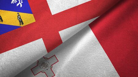 Herm and Malta flags together textile cloth, fabric texture