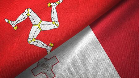 Isle of Mann and Malta flags together textile cloth, fabric texture 스톡 콘텐츠