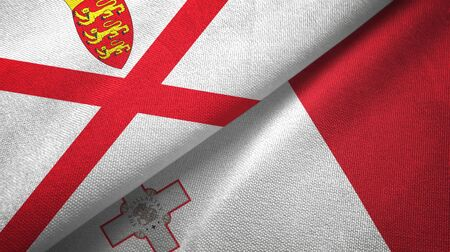 Jersey and Malta flags together textile cloth, fabric texture 스톡 콘텐츠