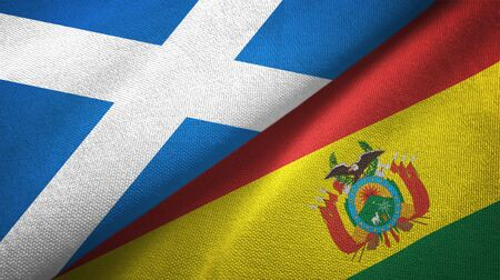 Scotland and Bolivia flags together textile cloth, fabric texture