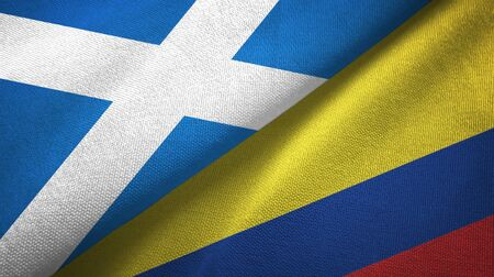 Scotland and Colombia flags together textile cloth, fabric texture