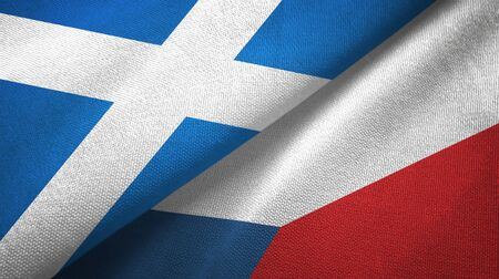 Scotland and Czech Republic flags together textile cloth, fabric texture Banque d'images
