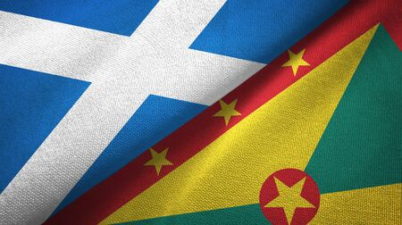 Scotland and Grenada two folded flags together