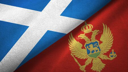 Scotland and Montenegro flags together textile cloth, fabric texture