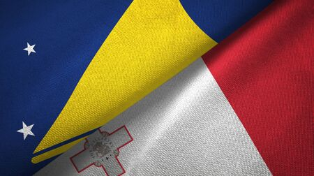 Tokelau and Malta flags together textile cloth, fabric texture
