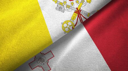 Vatican and Malta flags together textile cloth, fabric texture 스톡 콘텐츠