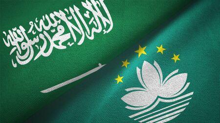 Saudi Arabia and Macau two folded flags together Stock Photo