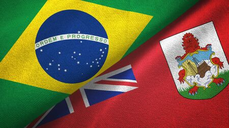 Brazil and Bermuda two folded flags together