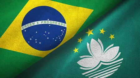 Brazil and Macau two folded flags together