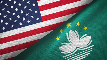 United States and Macau two folded flags together Stock Photo