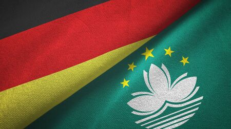 Germany and Macau two folded flags together Stock Photo