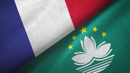 France and Macau two folded flags together