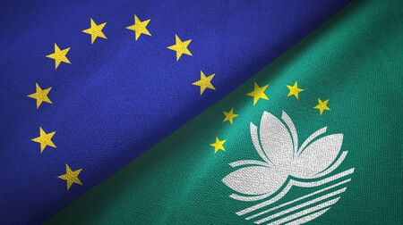 European Union and Macau two folded flags together Stock Photo
