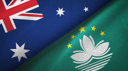 Australia and Macau two folded flags together Stock Photo