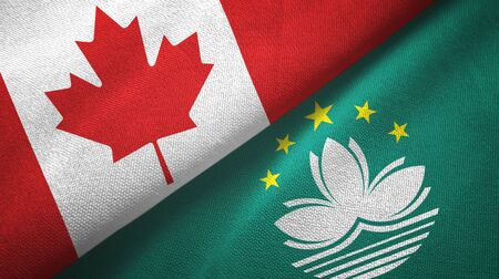 Canada and Macau two folded flags together Stock Photo