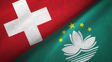 Switzerland and Macau two folded flags together Stock Photo