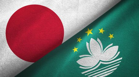 Japan and Macau two folded flags together