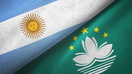 Argentina and Macau two folded flags together