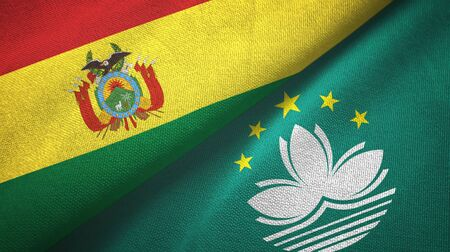 Bolivia and Macau two folded flags together