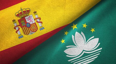 Spain and Macau two folded flags together Stock Photo