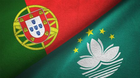 Portugal and Macau two folded flags together
