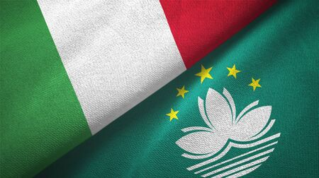 Italy and Macau two folded flags together