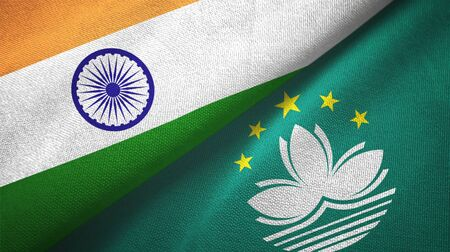 India and Macau two folded flags together Stock Photo