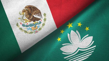 Mexico and Macau two folded flags together Stock Photo
