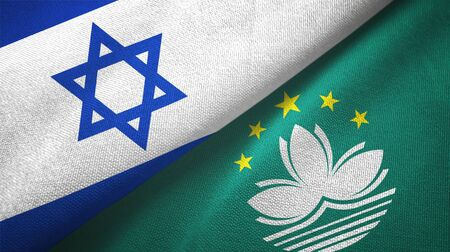 Israel and Macau two folded flags together