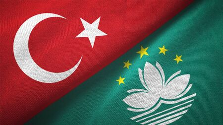 Turkey and Macau two folded flags together