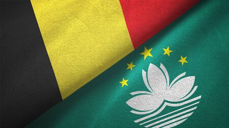 Belgium and Macau two folded flags together Stock Photo