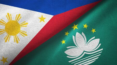 Philippines and Macau two folded flags together