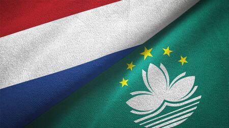 Netherlands and Macau two folded flags together Stock Photo