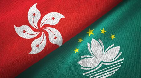 Hong Kong and Macau two folded flags together
