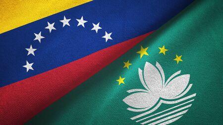 Venezuela and Macau two folded flags together