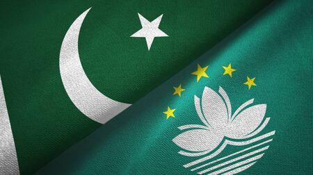 Pakistan and Macau two folded flags together
