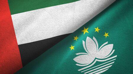 United Arab Emirates and Macau two folded flags together Stock Photo