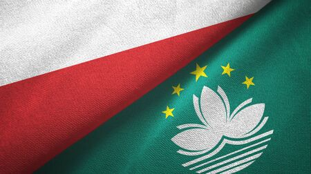 Poland and Macau two folded flags together