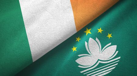 Ireland and Macau two folded flags together Stock Photo