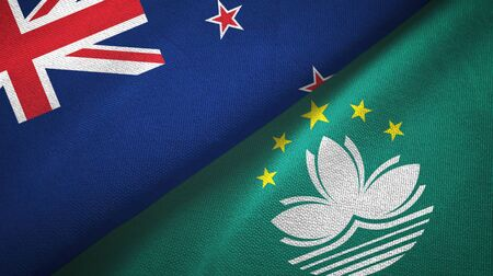 New Zealand and Macau two folded flags together