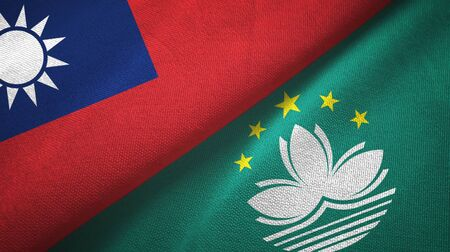 Taiwan and Macau two folded flags together