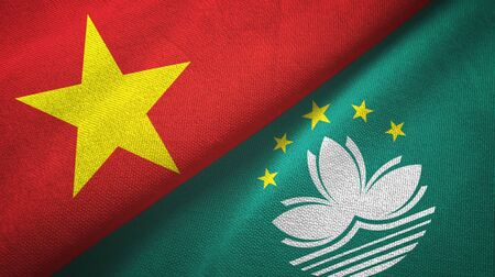 Vietnam and Macau two folded flags together