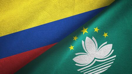 Colombia and Macau two folded flags together