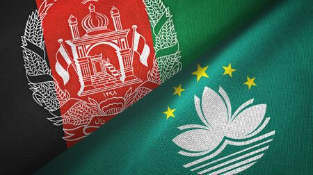 Afghanistan and Macau two folded flags together Stock Photo