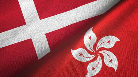 Denmark and Hong Kong two folded flags together Zdjęcie Seryjne - 137465711