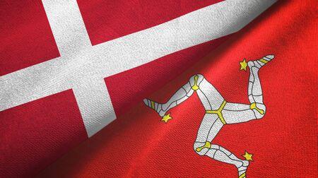 Denmark and Isle of Mann two folded flags together Zdjęcie Seryjne - 137465712