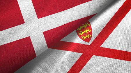 Denmark and Jersey two folded flags together Zdjęcie Seryjne