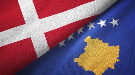 Denmark and Kosovo two folded flags together Zdjęcie Seryjne - 137465736