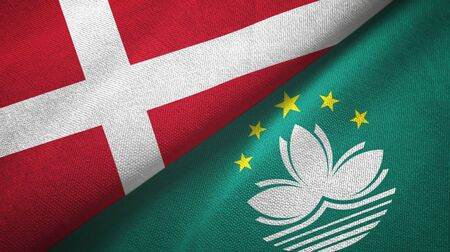 Denmark and Macau two folded flags together Stock Photo
