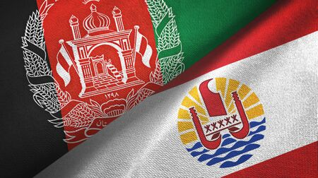 Afghanistan and French Polynesia two folded flags together